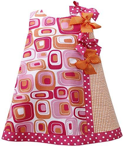 Baby Girls 3M-24M Pink Orange Dotted Bow Geometric Print Shift Dress (18 Months, Fuchsia)