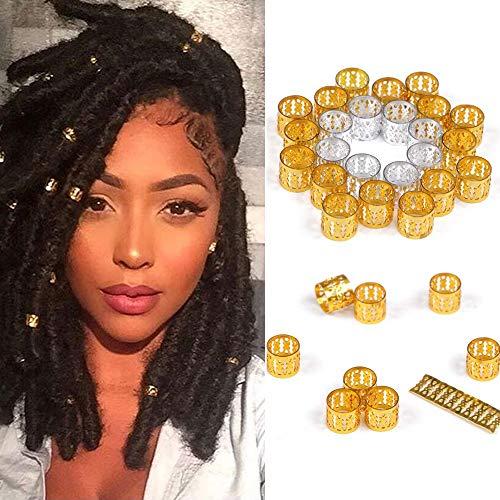 Alileader 100pcs Gold Hair Clips Dreadlock Accessories Hair Beads for Braids for Women Hair Jewelry for Women Braids Hair Accessories for Braids Hair Cuffs Hair Jewelry for Locs (Golden)
