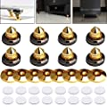 LAMPTOP 8 Set Golden-Plated Speaker Spikes, Speaker Stands CD Audio Subwoofer Amplifier Turntable Isolation Feet Solid Brass Cone Isolator Brass Base Pads Shockproof Mats With Double-sided Adhesive by LAMPTOP