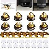 Lamptop - Set di 8 punte per altoparlanti, supporti per CD, amplificatore subwoofer e piattaforma girevole, in ottone massiccio, con base in ottone, antiurto, con biadesivo