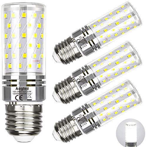 LED Lampe Glühbirne E27 12w 6000K Aogled,Entspricht 100W Halogenlampe,Tageslicht Weiß,1200lm,360 Winkel,E27 Schraube,Nicht Dimmbar,Kein Flackern,85-265V,E27 LED Beleuchtung,4er Pack