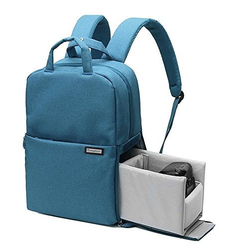 Beaspire Multifunción Profesional Mochila Bolsa Impermeable para Cámara Réflex DSLR de Viajes para Nikon Canon Sony Pentax Sony con Cubierta de Lluvia (Azul)
