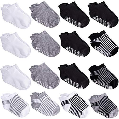 Duufin 16 Pares Calcetines Bebé Antideslizante Tobilleras Calcetines para Niña y Niño, Negro, Blanco, Gris, Rayas, 1-3 Años