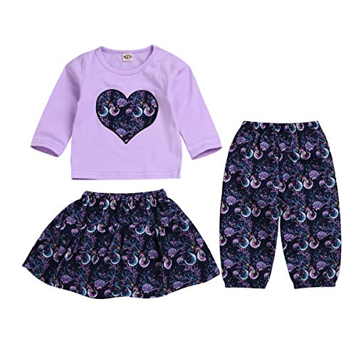 Infant Newborn Baby Girls Thanksgiving Outfits Skirt Sets Seahorse Funny Letter Romper + Skirt + Pant Sets 3Pcs (Purple, 3-6 Months)