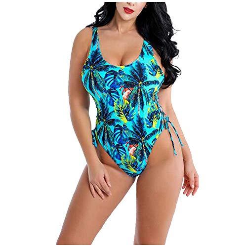Liyuzhu Big Size Women's Swimsuit Dames Sexy Driehoek zwempak uit één stuk Grote Maat modedruk Verzameld Bikini (Color : Green, Size : XXXXL)