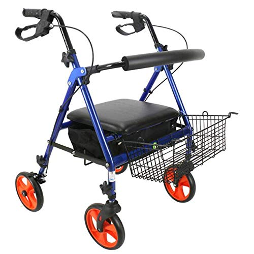 DFJU Wheel Rollator, Elderly Disabled Pulley Folding Cart Walking Walker Shopping Cart, Blue Walking Frame