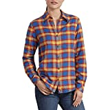 Dickies Women's Long-Sleeve Flannel Shirt, True Blue/Wheat Plaid, Large