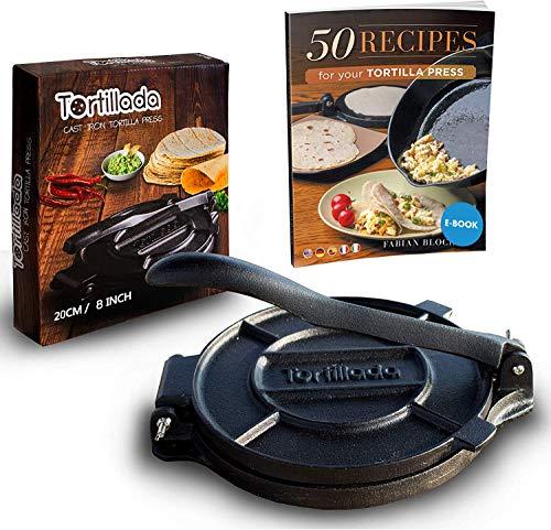 Tortillada - Premium Tortillapresse aus Gusseisen mit Rezepten (20cm) inkl. E-Book mit 50 Tortilla Rezepten