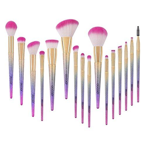 Docolor set pennelli make up, 16 pezzi Set di pennelli per trucco di fantasia Fondotinta Blending Fard Correttore Ombretto Pennelli per viso sintetico privi di crudeltà con scatola arcobaleno
