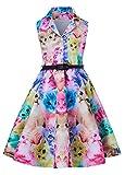 RAISEVERN Vestidos de Fiesta con Estampado Vintage sin Mangas para niñas con cinturón 6-15 años Colorful Gatos