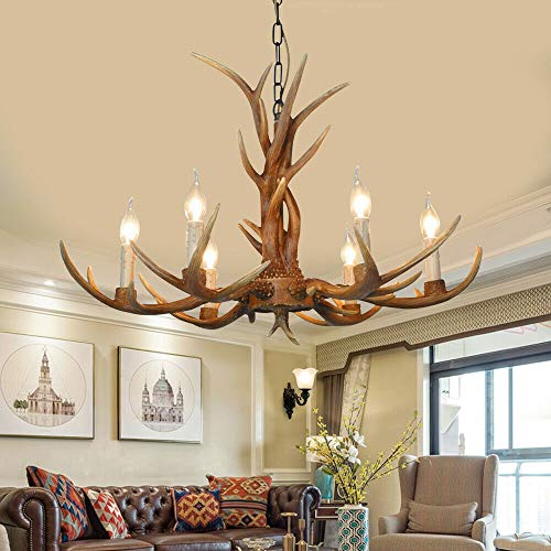 Retro Antler Chandelier Deer Horn Pendant Hanging Light Fixture Ceiling Lamp for Christmas Eve Bar Cafe Party Villas Restaurant Dining Living Room USA Stock (6 Heads)