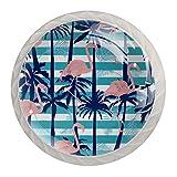 Paquete de 4 perillas para gabinete de cocina, perillas para cajones de tocador Ilustración de vector de patrón de flamenco transparente Tiradores de puerta