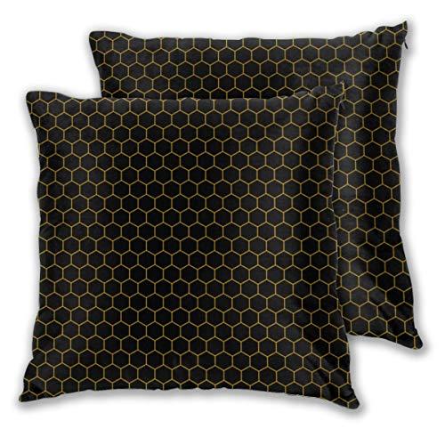 Juego de 2 fundas de cojín sencillas y elegantes con diseño de nido de abeja, color negro y amarillo, decorativas, cuadradas, fundas de almohada para dormitorio, sala de estar, 45 x 45 cm