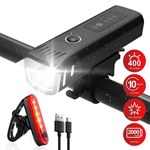 Fahrradlicht LED Vorne und Rücklicht Set, StVZO Zugelassen USB Aufladbar Fahrradbeleuchtung mit 4 Licht-Modi und Batterieanzeige, IPX4 Wasserdicht Fahrradlampe 400LUX für Mountainbike und Rennrad