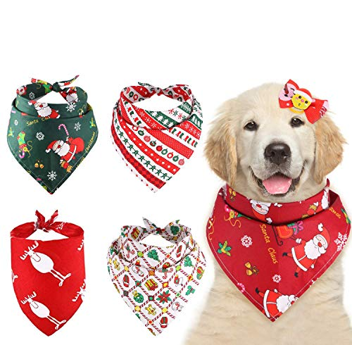 HIQE-FL Pañuelos de Navidad para Perro,Pañuelo Triangular,Bandana para Perros,Bufanda de Perro,Bandanas Navidad,Pañuelos de Navidad,Perros de Navidad,Pañuelos para Perros