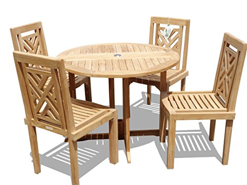 """Windsor's Genuine Grade A Teak, Barcelona 39"""" Round Drop Leaf Table W/ 4 Chippendale Stacking Chairs w Comfortable Contoured seat, World's Best Outdoor Furniture, Teak Lasts A Lifetime! Assembled"""