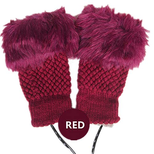 1 Pair 2 Pack DECVO Winter Powered Warmer Thicken Fingerless USB Heated Gloves Plush Warm Cold-Proof Knitted Half Finger Laptop Mittens USB Warm Gloves for Women Teen Girls Best Winter Gift (RED)