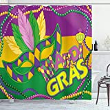 Ambesonne Mardi Gras Shower Curtain, Colorful Bands Vivid Beads Feathers and Crown, Cloth Fabric Bathroom Decor Set with Hooks, 70' Long, Lime Green Magenta