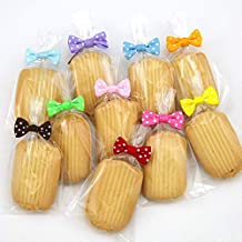Ribbon Bow Twist Tie, 200 pcs Spotted Color for Candy Cake Favor Decorations Lollipop Gifts Package