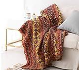 luofanfei Tagesdecke Wohndecke Baumwolle Bett Überwurf Sofaüberwurf Couchdecke Boho Stil mit Zweiseitig Unterschiedliches Geometrisches Muster für Sofa und Sessel 90X210 cm Gelb Rot Blau