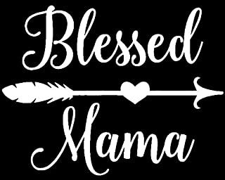 Blessed Mama White Decal Vinyl Sticker|Cars Trucks Vans Walls Laptop| White |5.5 x 4 in|LLI496