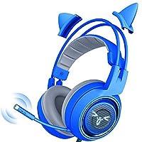 ゲーム用ヘッドセット、 真のワイヤレスヘッドフォン、耳スポーツヘッドフォンで深みのある低音のステレオサウンドとマイク、オートペアリング、IPX5の防水、フィットネス、ゲーム、ケースを充電 (色 : Blue)