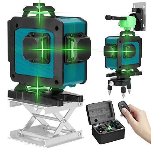 Kecheer Nivel laser autonivelante con tripode 16 Líneas,Niveles laser profesionales verde,Nivelador laser...