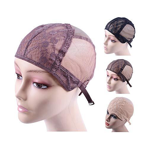 Bonnet de perruque double dentelle pour la confection de perruques avec bretelles réglables dans le dos Bonnets de perruque sans colle Filets à cheveux (Brun L 56 cm)