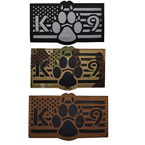 Reflective USA American Flag K-9 Dog Handler Tactical Military Morale Patch for Police Sheepdog's Harness, Vest, Collar, Clothes - Fastener Hook and Loop Backing - 3.54 x 2.17Inch -3 Pieces