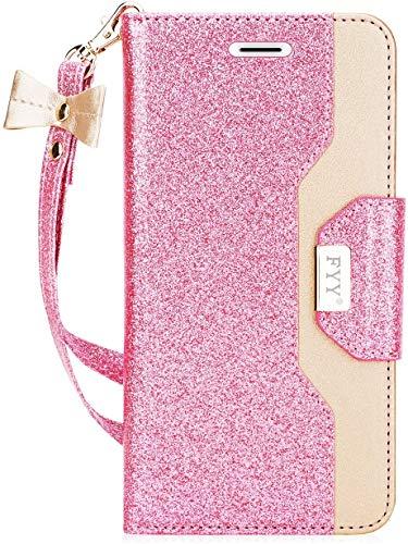 FYY Für Samsung Galaxy S7 Hülle,Galaxy S7 Hülle, Handyhülle für Samsung Galaxy S7,[Premium PU Leder] Flip Wallet Tasche Hülle mit Standfunktion & innerer Spiegel für Samsung Galaxy S7-Bling Rosa