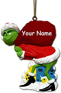 Kurt Adler Personalized Officially Licensed Dr. Seuss' The Grinch Walking with Red Sack of Gifts Dressed with Santa Claus Stocking Cap Hanging Christmas Tree Ornament with Custom Name