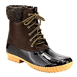 professional Nature Breeze Ladies Duck-02 Waterproof lace-up boots with warm zipper, brown 10