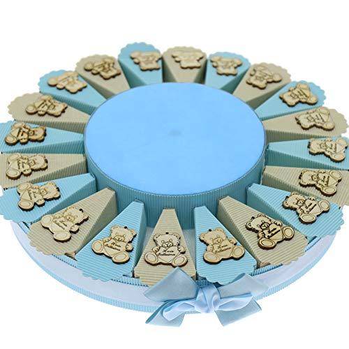 Viale Magico Torta Bomboniere 20pz Economica con Applicazione in Legno, pensierini economici per Ogni Evento (Torta da 20pz Il Mio Battesimo Orsetto Celeste)