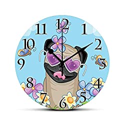 BCWAYGOD Pug Silent Wall Clock Adorable Puppy on The Field Flowers Butterflies Heart Shaped Clouds Open Sky Desk Clock Round Unique Decorative for Home Bedroom Office 10in