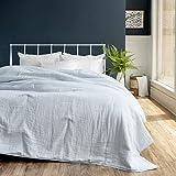 Welhome 100% Cotton Gauze Blanket - King Size (Powder Blue) - 114' x 96' - Supersoft - Superior Comfort - Lightweight - Breathable - Machine Washable