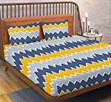 ENGUNIAS® King Collection Beautiful 3D Polycotton 154TC Double Bed Sized (90 X 90) Bedsheet with 2 Free Maching Pillow Covers Color- (Yello Blue)