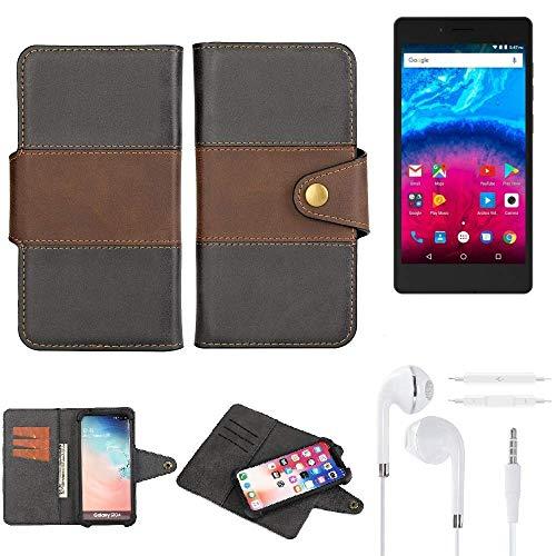 K-S-Trade® Handy-Hülle Schutz-Hülle Bookstyle Wallet-Case Für -Archos Core 50- + Earphones Bumper R&umschutz Schwarz-braun 1x