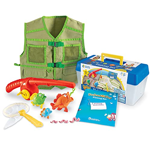 Learning Resources Pretend & Play Fishing Set, Fishing Pole & Tackle Box Toy, 11Piece, Ages 3+,Multi-color,12-1/4 L x 9 W x 6 H in
