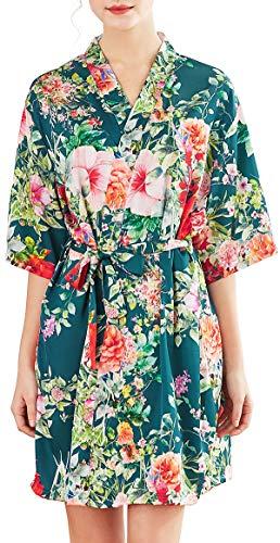 Chaos World Vestido para Mujer Kimono Corto Pijama Bata Satén Seda de Hielo Bata Albornoz (Floral Turquesa,XX-Large)