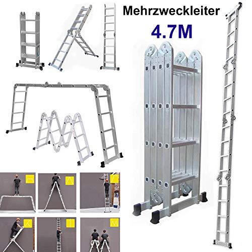 14 in 1 Anlegeleiter 470cm Mehrzweckleiter Aluminium Verstellbar Klappleiter Gelenkleiter Leiter Stehleiter Leitergerüst Arbeitsbühne 4x4 Stufen, Tragfähigkeit bis 150kg