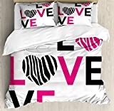 Ambesonne Pink Zebra Duvet Cover Set, I Love You Calligraphy Zebra Stripes Hearts Valentines Illustration, Decorative 3 Piece Bedding Set with 2 Pillow Shams, Queen Size, Black and White