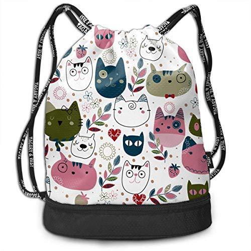 PmseK Turnbeutel Sportbeutel Kordelzug Rucksack, Cute Cat Heads Multifunctional Bundle Backpack Shoulder Bag for Men and Women