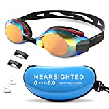 DEFUNX Swimming Goggles,Polarized Mirrored Swim Goggles Leakproof Anti Fog UV Protection for Men Women Kids Youth with Nose Cover Ear Plugs Black&Red