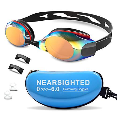 DEFUNX Nearsighted Swimming Goggles,Polarized Swim Goggles Shortsighted Myopia