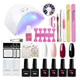 Coscelia Kit Vernis Semi Permanent Manucure Gel UV Lampe UV/LED Sèche Ongles 36W Top Coat Base Coat Vernis à Ongle 4pc Soak Off Strass Huile Cuticule Stickers Décoration