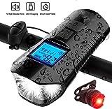 711light Velocímetro LED para bicicleta con pantalla LCD, recargable por USB, odómetro para montar en bicicleta nocturna, IP65 resistente al agua