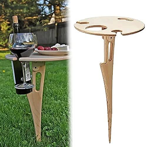 Holz-Klapptisch für den Außenbereich, tragbar, Picknick-Tisch, Mini-Klapptisch, Weintisch für Garten, Outdoor, Camping, Picknick, Strand