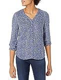 Amazon Essentials Women's 3/4 Sleeve Button Popover Shirt, Navy White Petal, Large