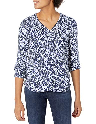 Amazon Essentials 3/4 Sleeve Button Popover Shirt Camisa, Azul Marino/Blanco, Pétalo, S