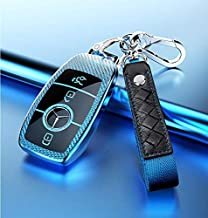 JVCV® Soft TPU Carbon Fiber Style Car Key Cover Compatible with Benz E Series Smart Key with Zinc Alloy and Leather Keycha...